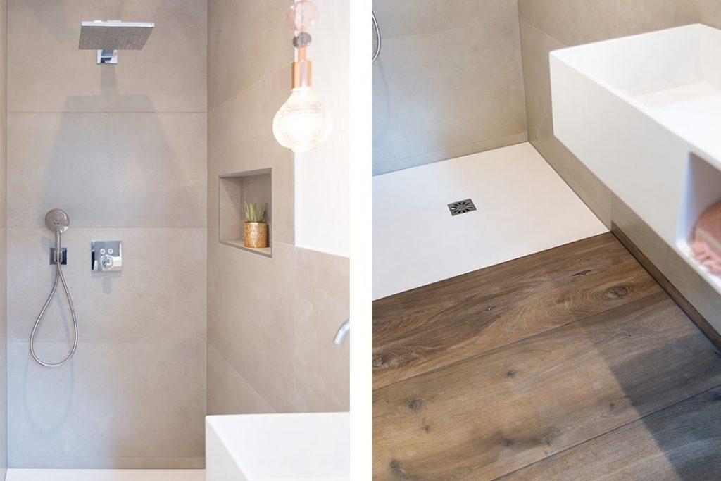 Kleines Gästebad mit Dusche und Toilette