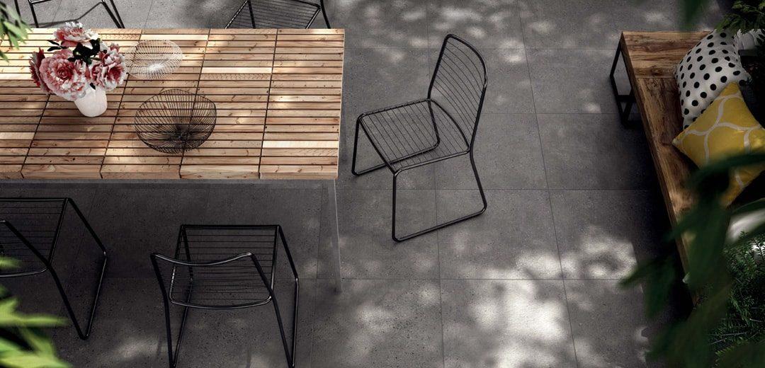 Terrassenplattenverlegung